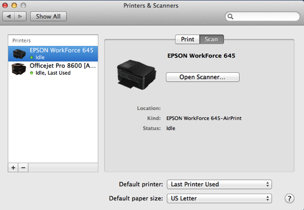 Printers and Scanners Preference Pane before turning on old Perfection 1200u