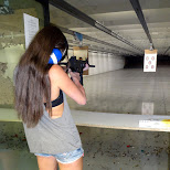 leontien firing a HK rifle at the Niagara Gun Range in North Tonawanda, New York, United States