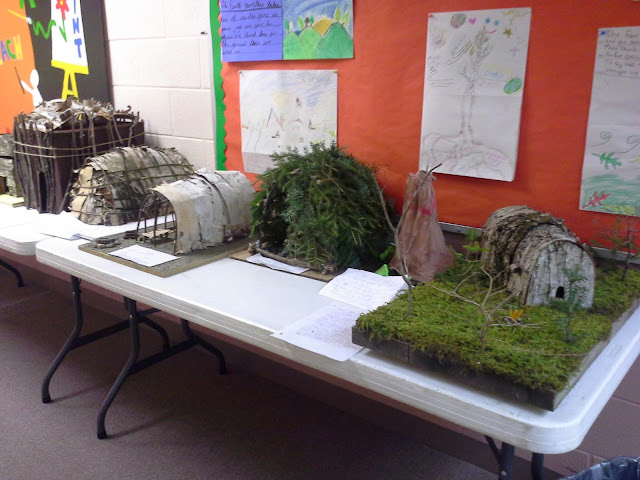 Spectacular work by grade 4 on their longhouse models