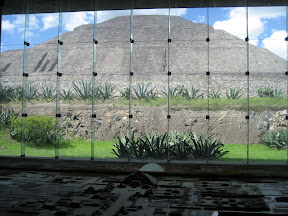 Inside the museum: The model layout in the foreground and the Sun pyramid seen in the background