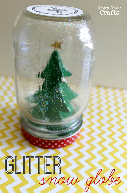 Glitter Snow Globe with Mod Podge #ad #Christmas #diy #kidcraft at GingerSnapCrafts.com_thumb[2]