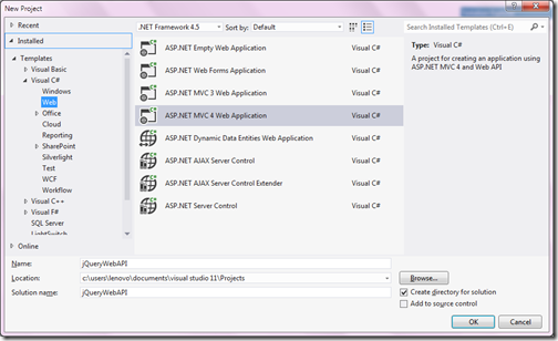 How to Create Webp API in Visual studio 2012