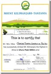Certificado Uhuru Peaak