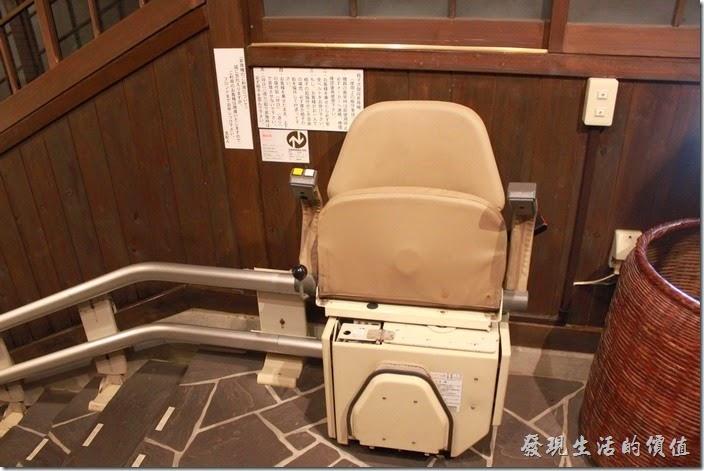 日本北九州-由布院-彩岳館。這個就是前往溫泉泡湯區的升降梯座椅了。