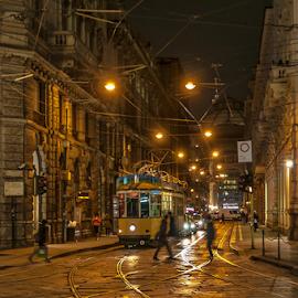 Downtown tram! by Jesus Giraldo - City,  Street & Park  Street Scenes ( lights, urban, street, buildings, tram, night, beauty, transportation, people, city )