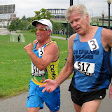 Larry Epstein and Brian Savilonis battle for the finish.