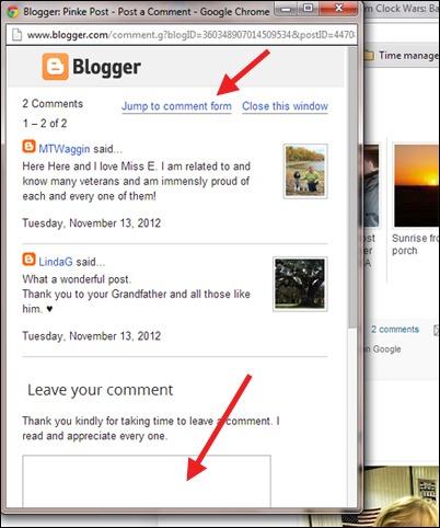 Pinke Post comment window