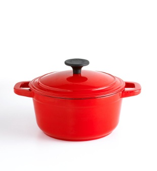 From the Martha Stewart Collection at Macy's -- a red enameled cast iron round pot. (macys.com)