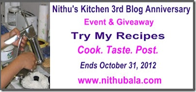 Nithu's Kitchen 3rd Blog Anniversary Event & Giveaway