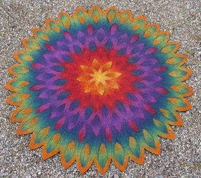 Blütenmandala Filzteppich