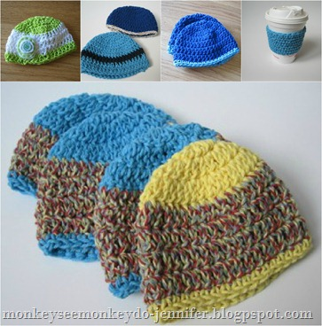 crochet hat collage