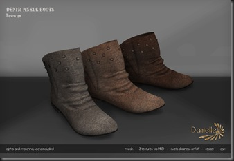 DANIELLE Denim Ankle Boots Browns'