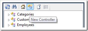New Controller context menu option on the Project Explorer toolbar.