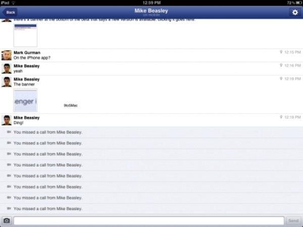 Facebook Messenger para iPad