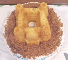 Beckys shower sand castle bridal shower cake top view2