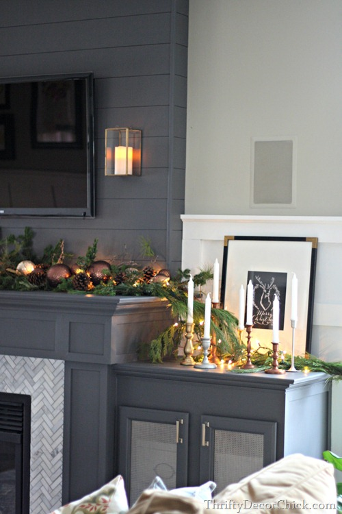natural greenery fireplace