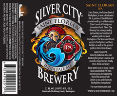 Silver City Saint Florian India Pale Ale beer label courtesy of the brewery