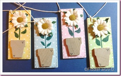 Flower Pot & daisy wooden tags