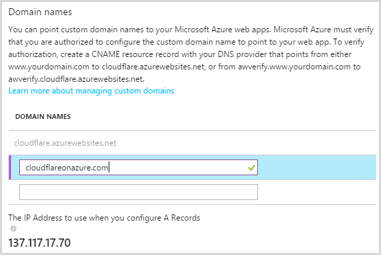 Adding the domain to the Azure web app