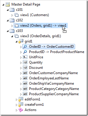 Dropping OrderID data field node onto view2.