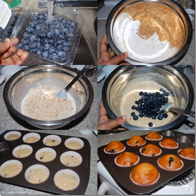 Eggless blueberry muffin process