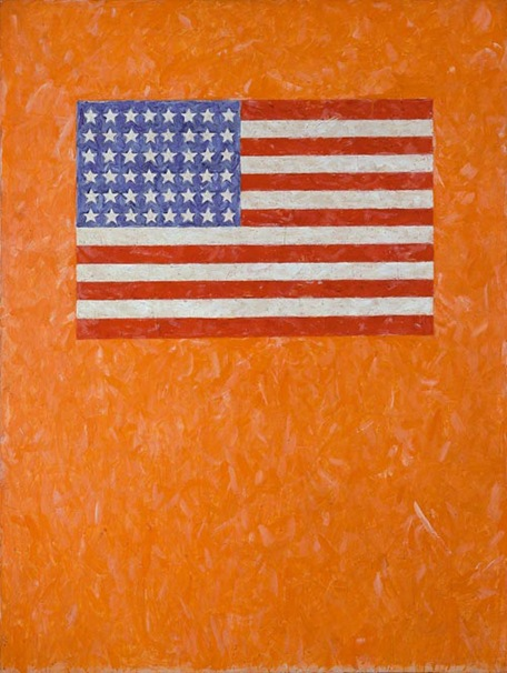 jasper johns flag on orange