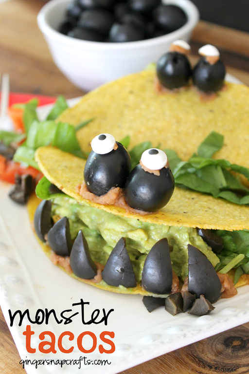 Monster Tacos Recipe at GingerSnapCrafts.com #kids #recipe #CalOliveCrafts #ad