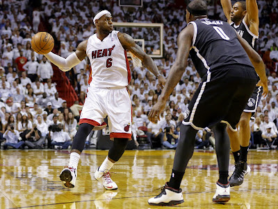 lebron james nba 140506 mia vs bkn 03 game 1 King James Leads Miami in LeBron 11 Elite Heat Home PE