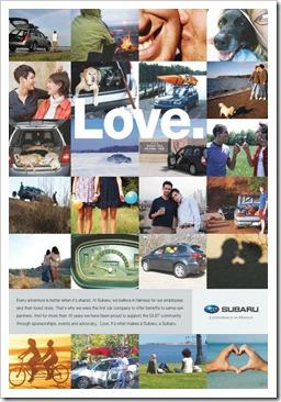 Subaru LGBT friendly employer advertising