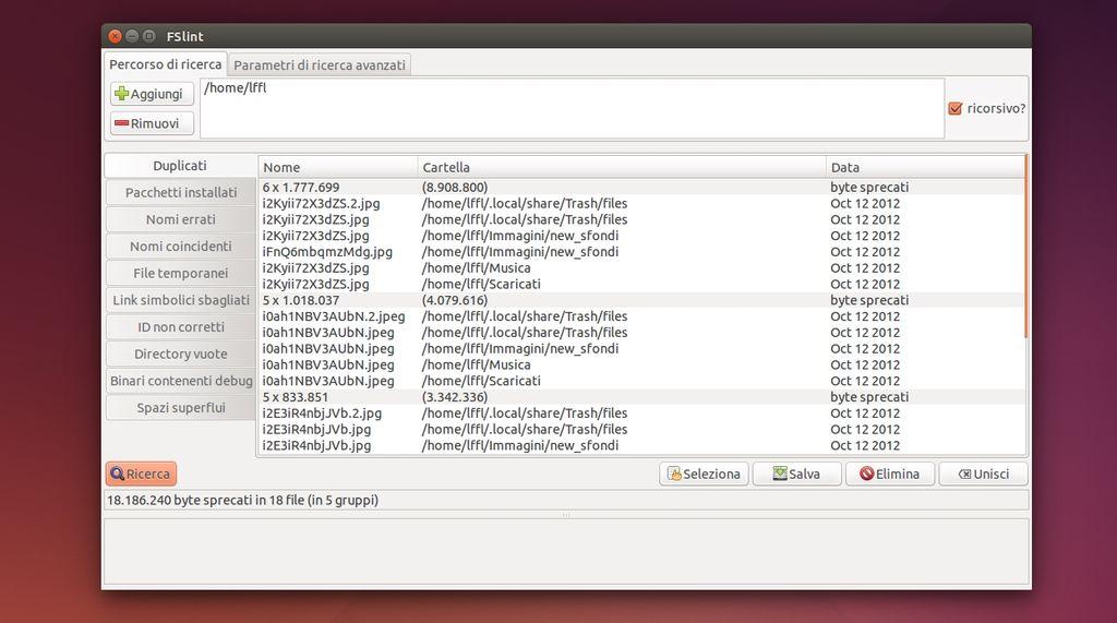 FSlint - rimuovere immagini duplicate in Ubuntu Linux