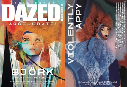Björk wears a bespoke dress by Shao Yen in the August issue of Dazed & Confused.