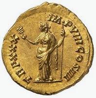 Moneta romana con la Dea Felicitas