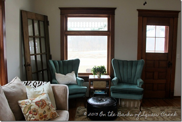 wood trim, turquoise chair, old door