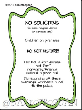 No soliciting green