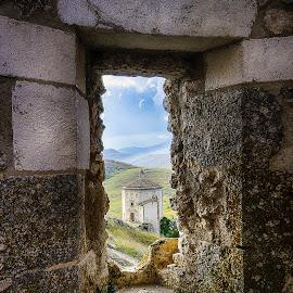 In frame by Ivano Mancino - Landscapes Travel ( film, ladyhawke, abruzzo, santa maria della pietà, rocca calascio, italy,  )