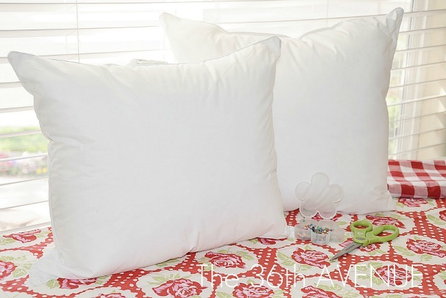 Craft Tip! Bed Pillow into TWO throw pillows!