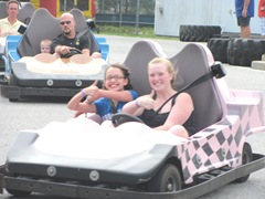 Tony Kent go carts..lily and katie thumbs up 12