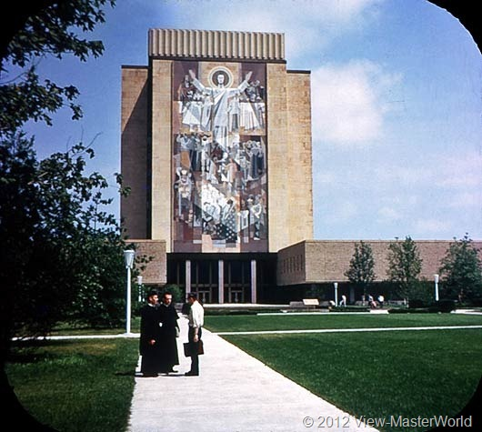 View-Master Indiana (A570), Scene 6: Memorial Library at Notre Dame