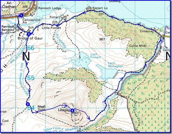 Our route - 17.5km, 450 metres ascent, 5.5 hours