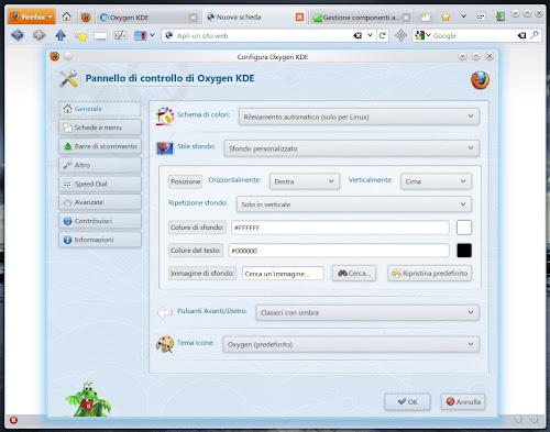 Oxygen KDE 4.0 pannello configurazione