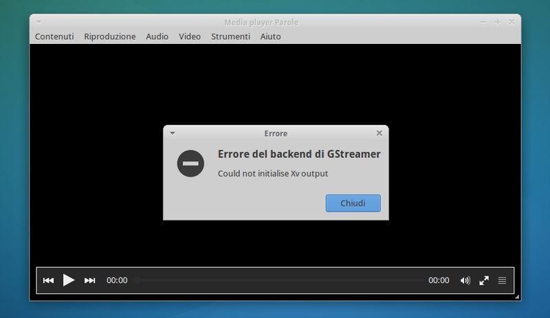 Parole e l'errore del backend di GStreamer