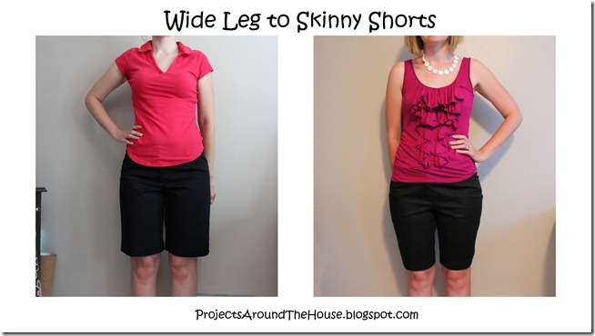 Wide to skinny shorts refashion