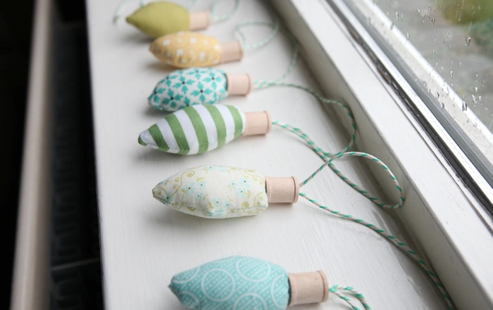 how to make retro fabric christmas light bulbs