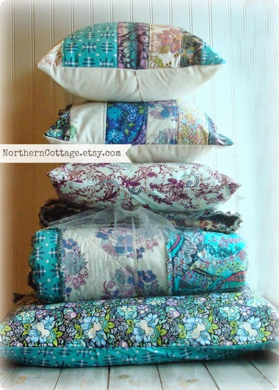 Stacks of pretty Quilts and Pillows!! {Northern Cottage}