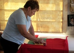 Barb Cutting At Her New Table