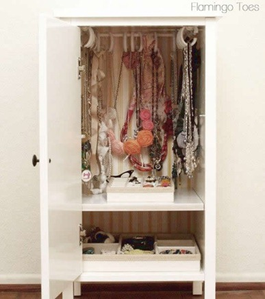 ikea nightstand into a jewelry cabinet