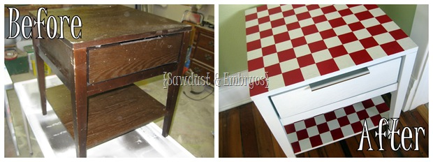 Before and after checkerboard end table