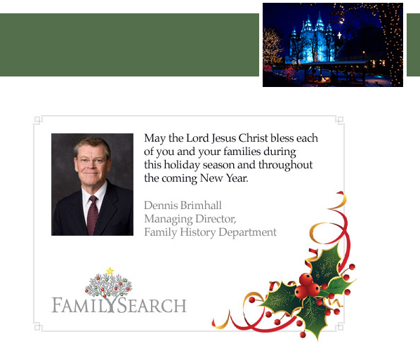 Christmas greeting from FamilySearch