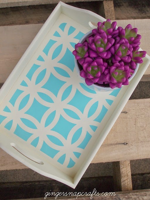 diy painted tray with stencil