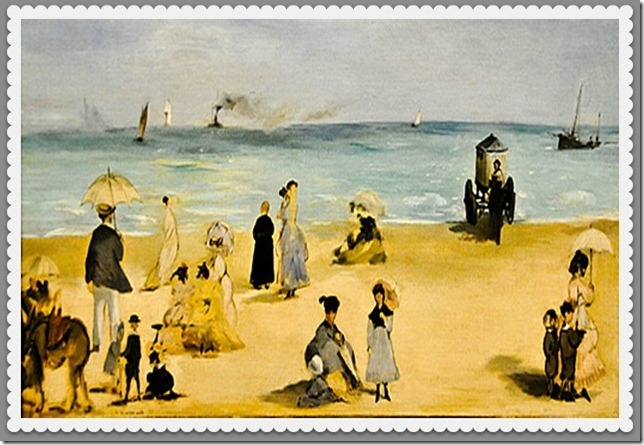 sur la plage postcard transfer
